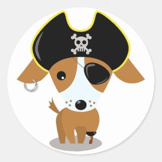 Pirate Puppy Classic Round Sticker