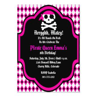 Pirate Queen Birthday Party Invitation