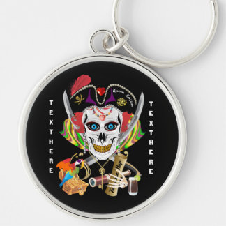 Pirate Queen Lafitte All Styles View Hints Silver-Colored Round Keychain