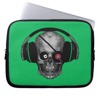 Pirate Radio Skull DJ with Vinyl Eye Patch Laptop Computer Sleeve