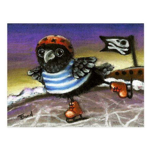 Pirate raven ice skating post cards