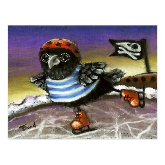 Pirate raven ice skating postcard