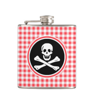 Pirate Red and White Gingham Hip Flask