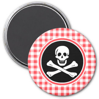 Pirate; Red and White Gingham Refrigerator Magnet