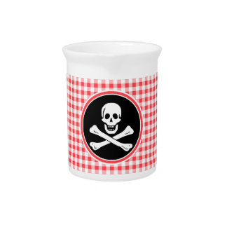 Pirate; Red and White Gingham Beverage Pitchers