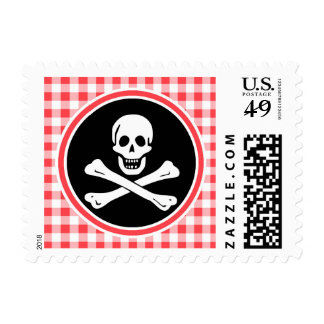 Pirate; Red and White Gingham Postage Stamp