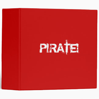 PIRATE! Red. Distressed Lettering. Custom Binder