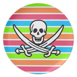 Pirate; Retro Neon Rainbow Jolly Roger Dinner Plates