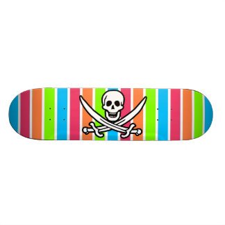 Pirate Retro Neon Rainbow Jolly Roger Skateboards