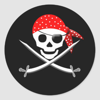 PIRATE ROUND STICKERS - PARTY