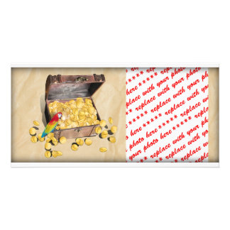 Pirate s Treasure Chest on Crinkle Paper Photo Greeting Card