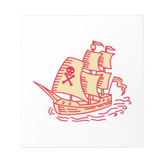 Pirate Sailing Ship Galleon Mono Line Notepad
