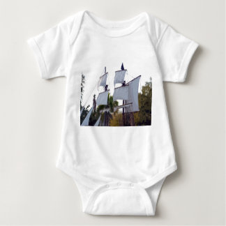 pirate sails on ship abstract pirating muskateer baby bodysuit