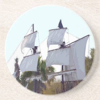 pirate sails on ship abstract pirating muskateer beverage coasters