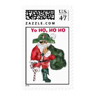 Pirate Santa Cartoon Postage Stamp