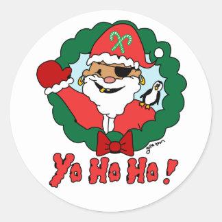 Pirate Santa Classic Round Sticker