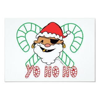 Pirate Santa Emblem 3.5x5 Paper Invitation Card