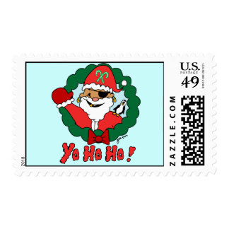Pirate Santa Postage Stamps