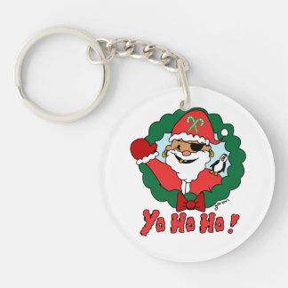 Pirate Santa Single-Sided Round Acrylic Keychain