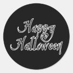 Pirate Scrawl Happy Halloween Round Sticker