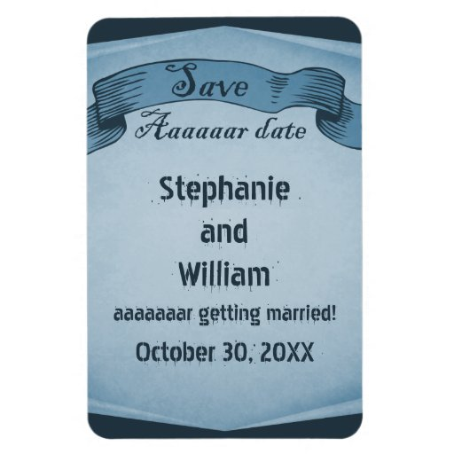 Pirate Scroll Save the Date Flexi Magnet, Blue Rectangular Photo Magnet