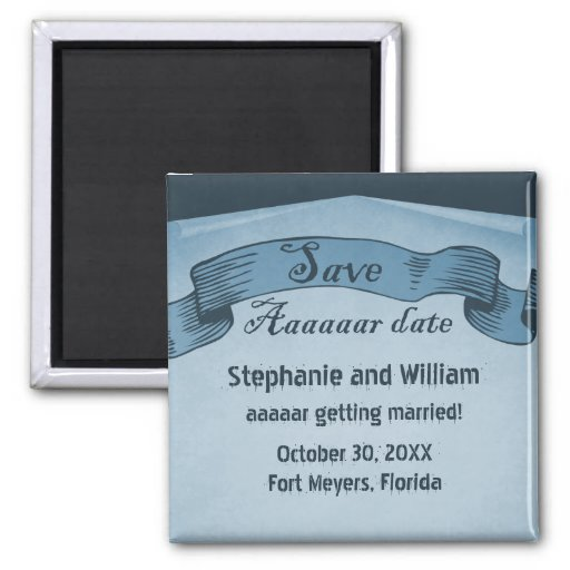 Pirate Scroll Save the Date Magnet, Blue