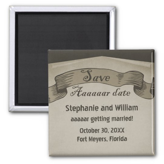 Pirate Scroll Save the Date Magnet, Brown Magnet