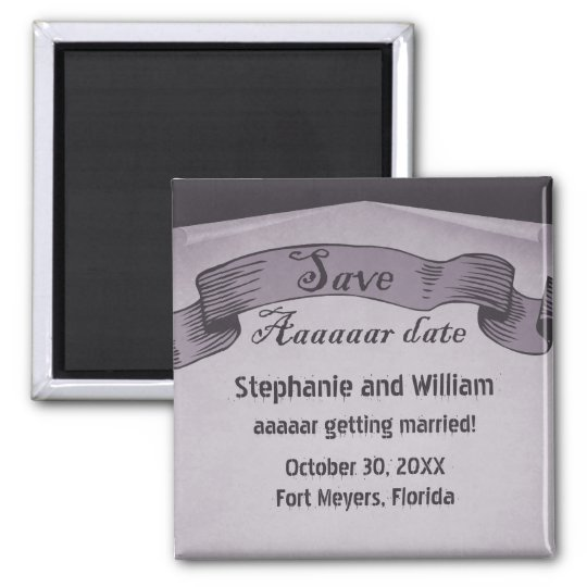 Pirate Scroll Save the Date Magnet, Purple Magnet