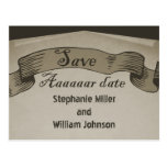 Pirate Scroll Save the Date Postcard, Brown Postcard
