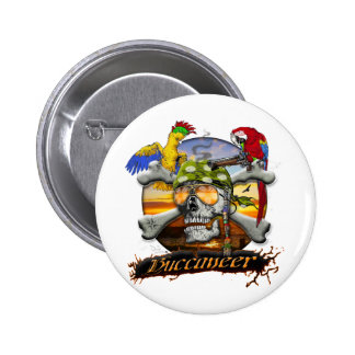 Pirate Scull and Parrots Button
