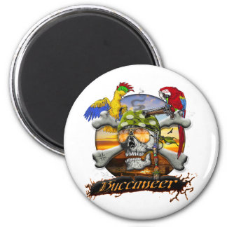 Pirate Scull and Parrots Magnet