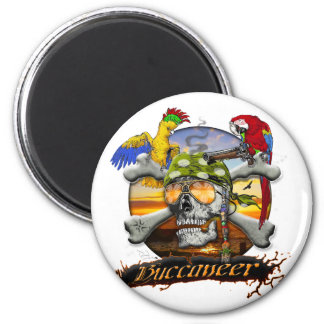 Pirate Scull and Parrots Fridge Magnet