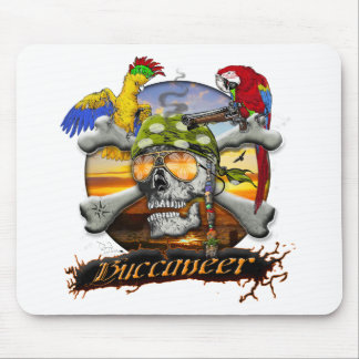 Pirate Scull and Parrots Mouse Pad