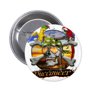Pirate Scull and Parrots Pinback Button