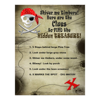 PIRATE SHEETS -CLUES TO TREASURE FLYER