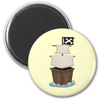 Pirate Ship 2 Inch Round Magnet
