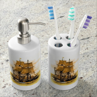 Pirate ship 2 Toothbrush Holder and Soap Dispenser