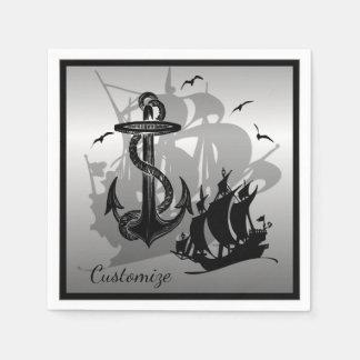 Pirate Ship & Anchor Black Silhouette Napkins 2