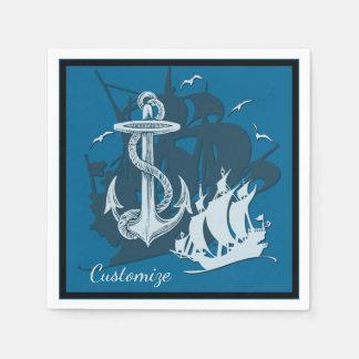 Pirate Ship & Anchor White Silhouette Napkins