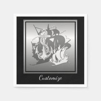 Pirate Ship & Anchor White Silhouette Napkins 2