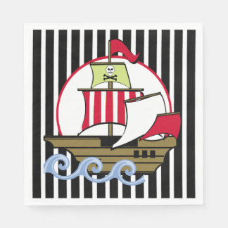Pirate Ship and Black Stripes Paper Napkin