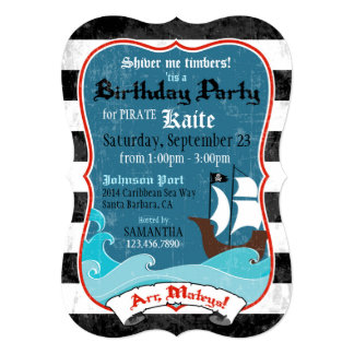 Pirate Ship and Ocean Birthday Invitation