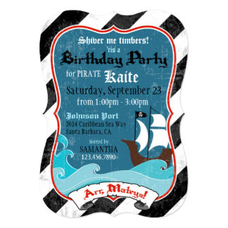 Pirate Ship and Ocean Birthday Invitation