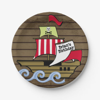 Pirate Ship and Wood Planks Paper Plate