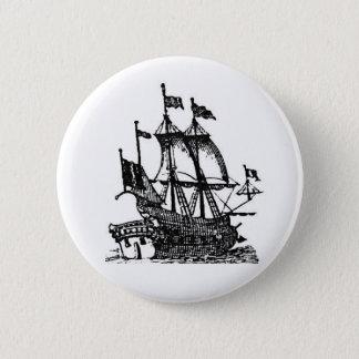 Pirate Ship at Sea Button