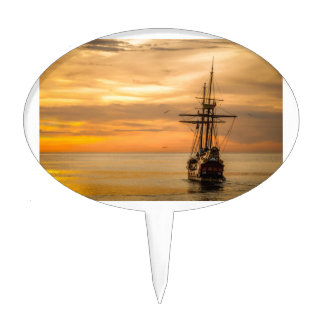 Pirate Ship At Sunset Cake Topper