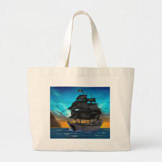 PIRATE SHIP AT SUNSET LARGE TOTE BAG