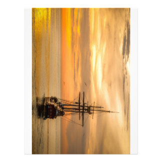 Pirate Ship At Sunset Letterhead