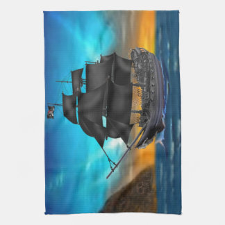 PIRATE SHIP AT SUNSET TOWELS
