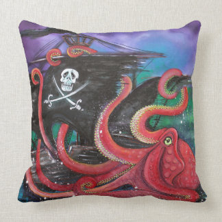 Pirate Ship Attack Throw Pillow